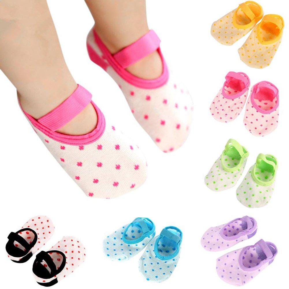 Ehdching 6 pairs Infant Toddler Baby Girls Anti Slip Non Skid Socks with Grip