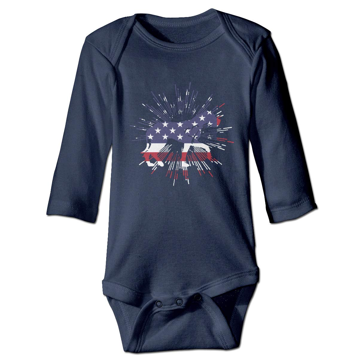 Q98BABY Infant Babys Long Sleeve Climb Jumpsuit Great Dane Heart American Flag Print Jumpsuit