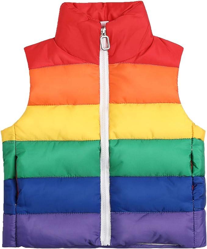 Londony ♪❤ Baby Boys Toddler Kids Rainbow Print Vests Coats Fleece Inside Vest Jacket with Hood