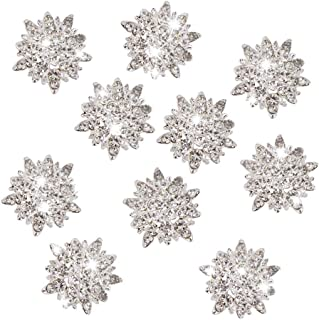 Junecat 10Pcs/set DIY Crystal Alloy Accessories Button Rhinestone Jewelry Crystal Flower Button DIY Hair Accessories