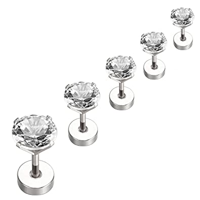 Amazoncom Nicever Stainless Steel Cubic Zirconia Stud Earrings
