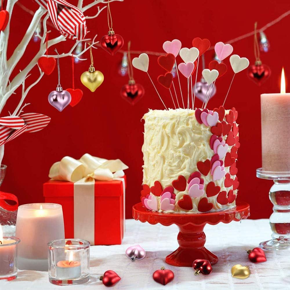 Rosso, Argento, Oro Natale Decorazione 36 Pezzi Pallina di Natale Cuore Pallina Chincaglieria Albero a Forma di Cuore per Casa Festa Decor Fai da Te