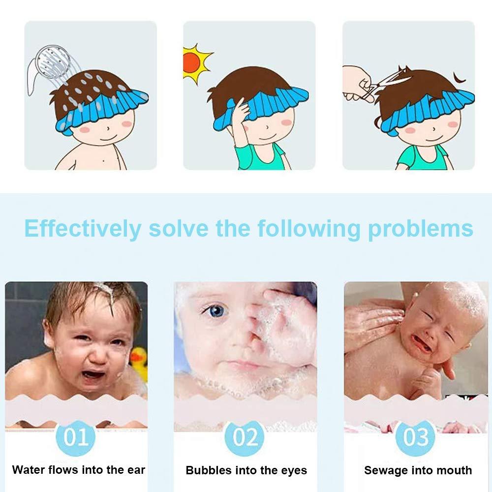 Pink Verhinderung des Eindringens von Wasser in Ohren und Augen verstellbare Badewannen-Duschkappen f/ür Kinder//Babyschild-Schutzkappe//Baby Sonnenhuts 3 St/ück Babyparty-Shampoo-Kappe