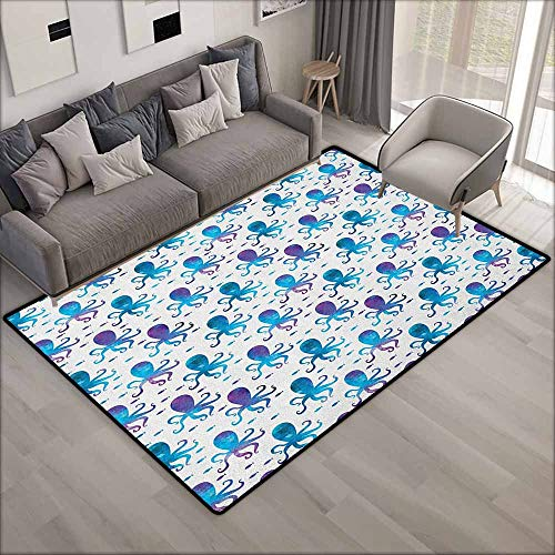 Living Room Rug,Octopus Mosaic Pattern Marine Animal Silhouettes Abstract Nautical Polygonal Design,Rustic Home Decor,4