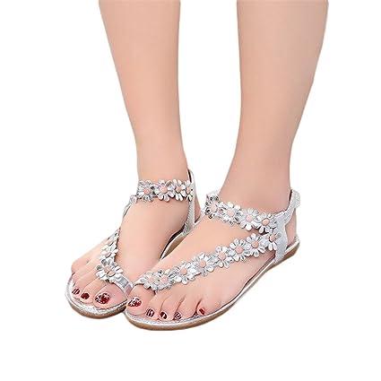 8812fe6d31bf Listawa Women Shoes Flat Sandals Comfort Gladiator Sandals Women Flip Flops  Sandalias Silver 5