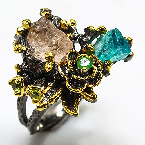- Natural Rough Tourmaline & Apatite Handmade Size 7 us 925 Sterling Silver Ring