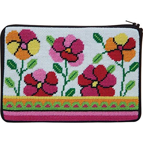 Stitch & Zip Needlepoint Purse Kit- Pink & Orange Poppies