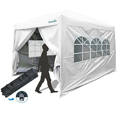 Quictent 10x10 Instant Pop Up Canopy Party Tent Waterproof with Sides White - CX88924 : Garden & Outdoor