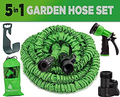 GrowGreen® Garden Hose, 25 Feet, Strongest, Hose, Water Hose, Expandable Hose, Best Hoses, with Free 8-way Spray Nozzle, Rust-free, Watering Hose, Hanger and Shutoff Valve, Flexible Hose,