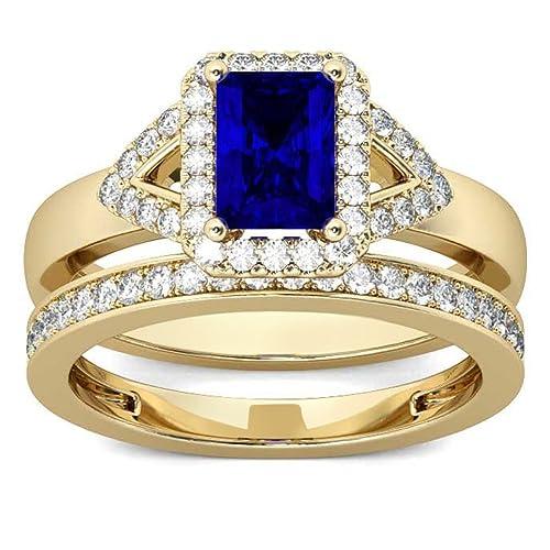 Lilu Jewels plata de ley esmeralda Blue zafiro sintético