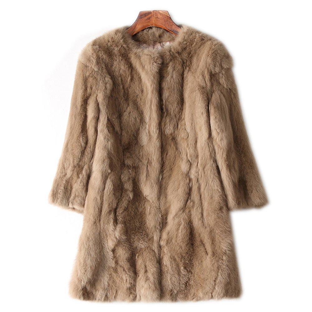 MINGCHUAN Genuine Rabbit Fur Mid-long Coat Women's Fluffy Fur Warm Jacket Outwear