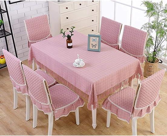 Qiao jin *Durable Presidente Mantel Rectangular algodón Mantel de Lino Conjunto Mesa Mesita Mantel Mesa Set Fácil de Limpiar (Color : A, Size : Chair Cover*6+140 * 200cm): Amazon.es: Hogar