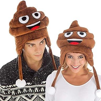Cappello Peluche Emoji Cacca per Travestimento Costume Carnevale Halloween Festa Serata a Tema Adulti Ragazzi