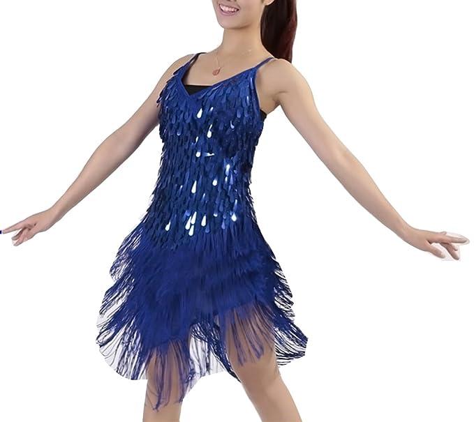 Mujer Salsa Tango Flamenco Baile Latino Elegante Vestidos de Baile Talla única Azul Zafiro