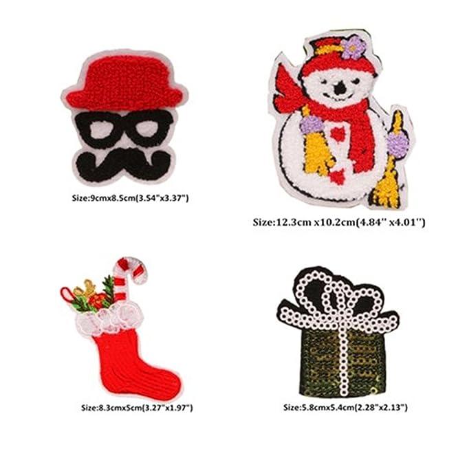 Varios - Juego de 21 de Navidad Papá Noel Muñeco de nieve árbol de Navidad guirnalda hierro bordado en parches apliques parches decorativos para coser en ...