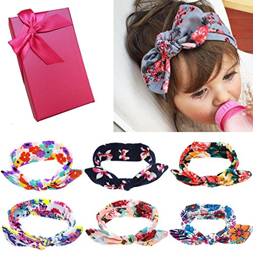 Elesa Miracle Hair Accessories Lovely Baby Girl's Gift Box with Bow Flower Hair Headband (6pc Set A) (Infant Box)