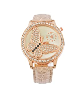 Funique Women Girl Brown Artificial Leather Band Butterfly Rhinestone Dial Casual Quartz Watch 25cm (Khaki)