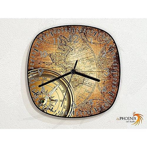 World globe clocks amazon old vintage map compass navigation novelty gift custom name wall clock gumiabroncs Image collections