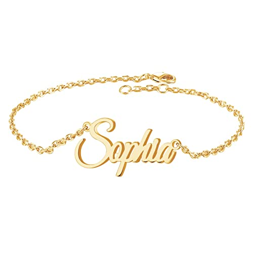 Yoke Style Custom Infinity Name Bracelet Personalized, Customized Engraved Link Bracelet Jewelry Gift for Women