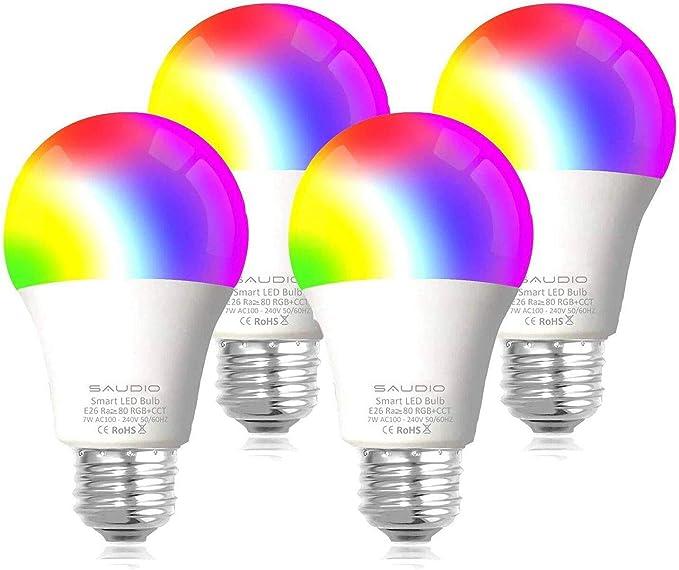 Smart WiFi Alexa Light Bulbs, SAUDIO LED RGB Color Changing Bulbs, Works with Alexa, Echo, Google Home & Siri, 2.4GHz WiFi Only, No Hub Required, 7W A19 E26 Multicolor 4 Pack - - Amazon.com