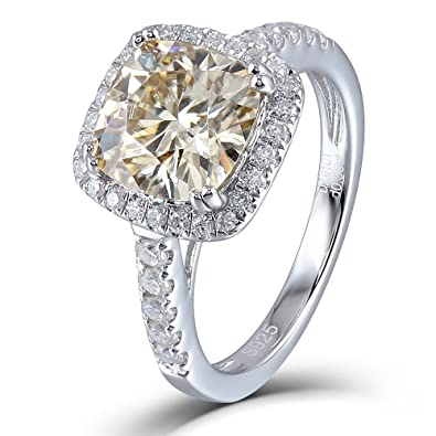 DovEggs Platinum Plated Silver Center 2 5ct 8X8mm Tea Yellow Cushion  Moissanite Halo Engagement Ring with Accents