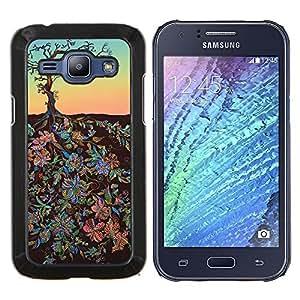 Flores Pintura Arte Sky Tree- Metal de aluminio y de plástico duro Caja del teléfono - Negro - Samsung Galaxy J1 / J100