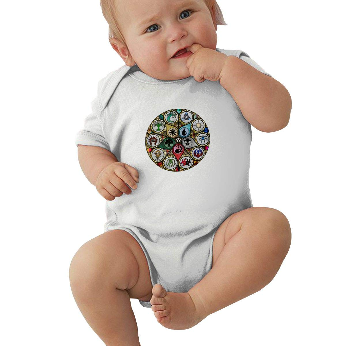 Dfenere MTG Stained Glass Graphic Newborn Baby Short Sleeve Bodysuit Romper Infant Summer Clothing Black