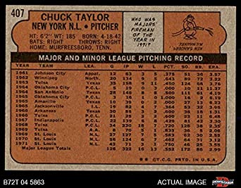 3f5f94516f0 Amazon.com  1972 Topps   407 Chuck Taylor New York Mets (Baseball Card)  Dean s Cards 8 - NM MT Mets  Collectibles   Fine Art