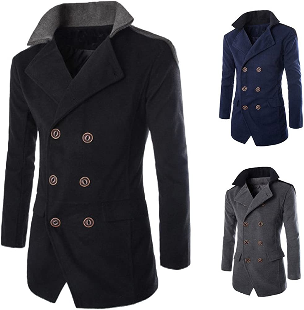 Veepola Mens Jacket Winter Trench Long Outwear Button Lapel Overcoat Coats