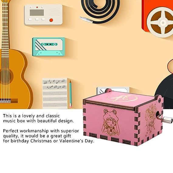 Akozon Music Box 1 St/ück Holz Handkurbel Spieluhr Mechanische Klassische Handwerk Geburtstagsgeschenk Sailor Moon Pink