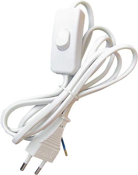 Tibelec 163910 Câble d'alimentation avec Prise électriqueInterrupteur Blanc