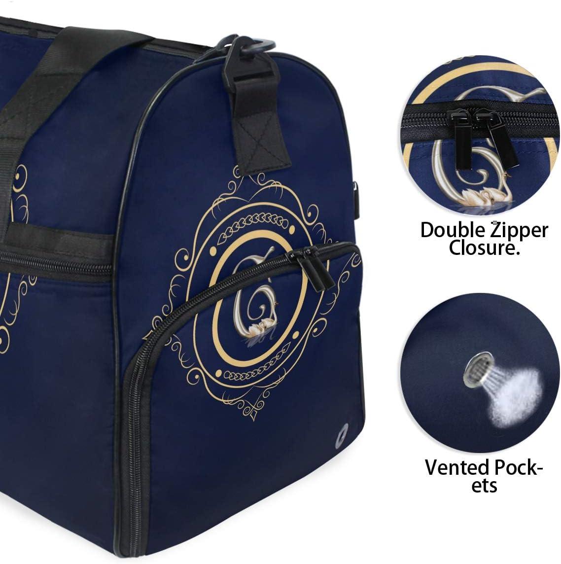 FANTAZIO Monogram Sports Bag Packable Travel Duffle Bag Lightweight Water Resistant Tear Resistant