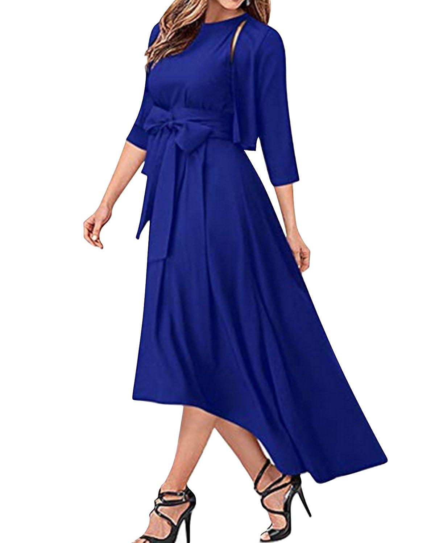 54f2d6f9db Jacansi Women Elegant High Low Long Dresses Formal Sexy Chiffon  Cardigan+Belt+Dress  Amazon.co.uk  Clothing