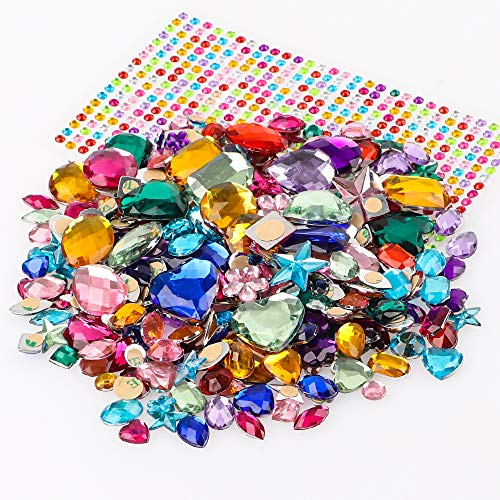 YIQIHAI 700pcs Self Adhesive Jewels Bling Crystal Gem Stickers Rhinestone Strips for DIY Arts & Crafts Assorted Shapes Colors