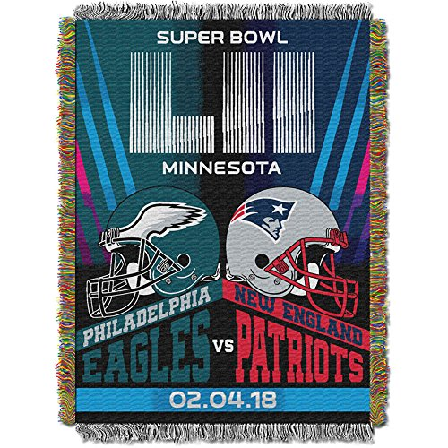 England New Tapestry Patriots (The Northwest Company Super Bowl LII Dueling Champions Woven Tapestry Throw (48x60))