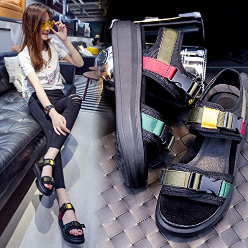 OALEEN Sandales compensées femme cuir bride cheville été chaussures nu pieds plateforme noir