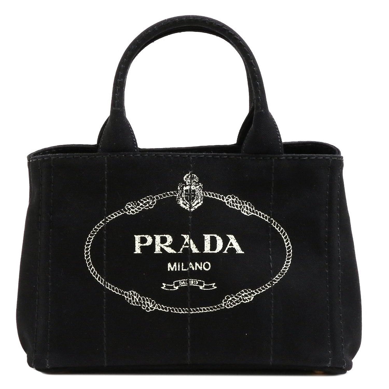 (プラダ) PRADA トートバッグ ショルダーバッグ CANAPA カナパ スモール キャンバス ブラック タルコ 1BG439 CANAPA NERO+TALCO B07B63B8FZ