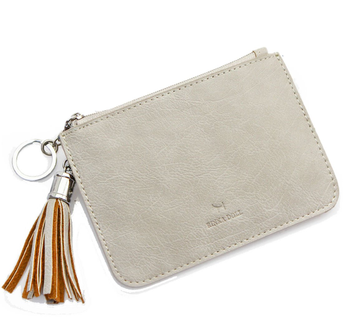 Edmen Leather Slim Credit Card Pocket with Key Ring and ID Window Purse (Grey)
