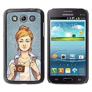 KLONGSHOP // Cubierta de piel con cierre a presión Shell trasero duro de goma Protección Caso - Hipster Chica - Samsung Galaxy Win I8550 //