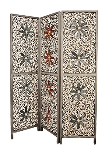 - 3 Panel Grey and Beige Floral Design Solid Wood Screen Room Divider, By Legacy Decor