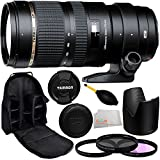 Tamron SP 70-200mm f/2.8 Di VC USD Zoom Lens for Nikon with Manufacturer Accessories + 77mm 3 Piece Filter Kit (UV+FLD+CPL), Dust Blower, Lens Backpack & Microfiber Cleaning Cloth