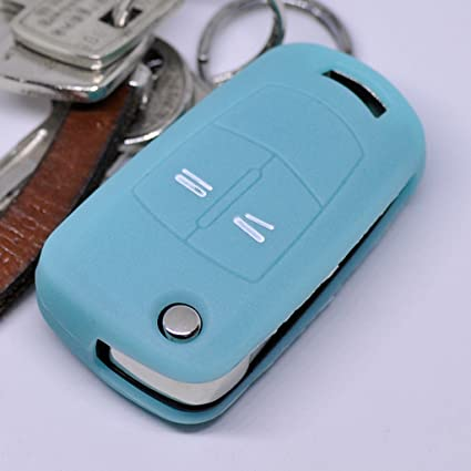 Key Soft Case Cover Funda Protectora Llave para el automóvil Opel Astra Vectra Corsa Zafira Signum hasta 2008 Llave Plegable/Color: Azul Fluorescente ...
