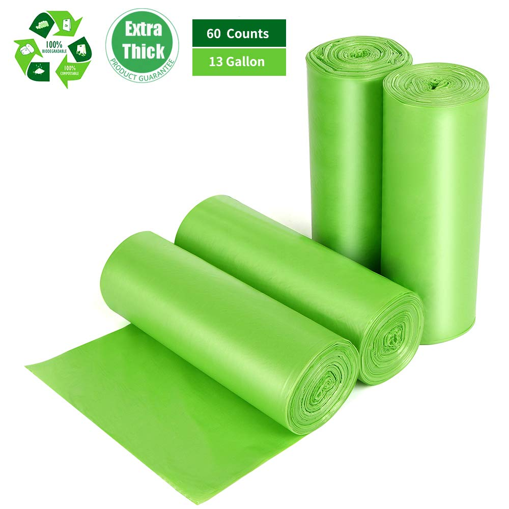 Tall Kitchen Trash Bags 13 Gallon, 60 Counts, Extra Thick 1.18 Mils Recycling Garbage Bags For Kitchen Yard Home Office