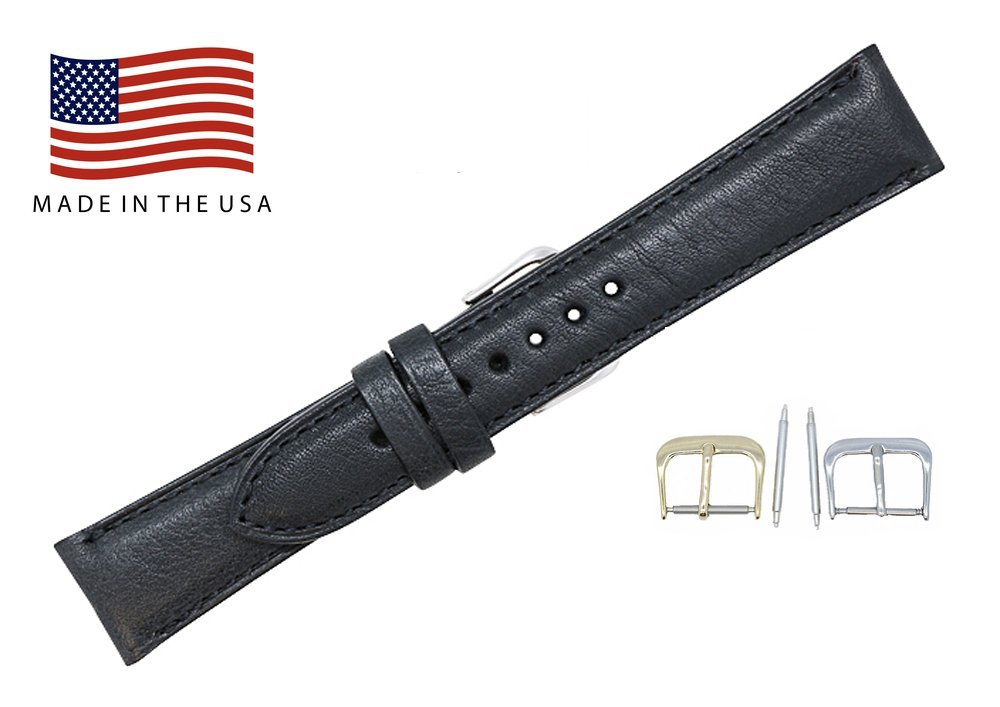 24mm Short Black Montana Genuine Leather Watch Band Strap for Men and Women – American Factory Direct - Gold & Silver Buckles Included – Made in USA by Real Leather Creations FBA966