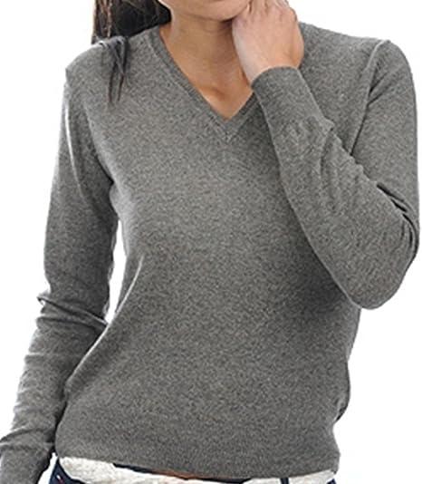 1ddfcb78cd86 Balldiri 100% Cashmere Kaschmir Damen Pullover 2-fädig V Ausschnitt mit  Bündchen graubraun meliert