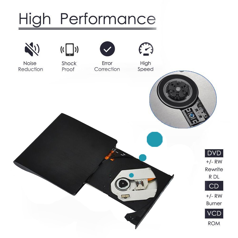 External DVD Drive, USB 3.0 DVD CD Drive with High Speed Data Transfer, CD DVD Burner for Laptop and Desktop, Optical Drive Suitable for Windows XP/Vista/Win 7/ Win 8/Win 10,Mac OS System by GUAN DAN (Image #4)