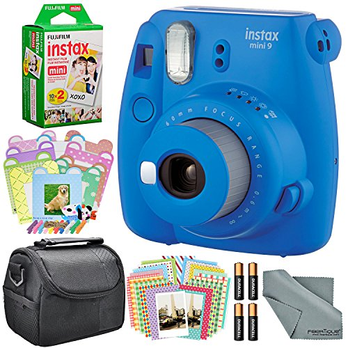 Fujifilm Instax mini 9 Instant Film Camera (Cobalt Blue) and Accessory Package w/Frames + Stickers + Films + Case + More