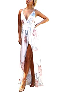 c9f3f0a81010 FFLMYUHUL I U Women s Strap Floral Print Lace Up Backless Deep V Neck Sexy  Split Beach Maxi