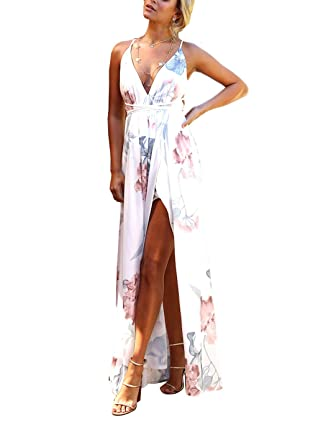 bcdb2833e5 Amazon.com  FFLMYUHUL I U Women s Strap Floral Print Lace Up Backless Deep V  Neck Sexy Split Beach Maxi Dress  Clothing