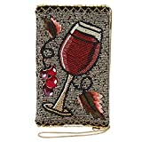 Mary Frances Vino Beaded-Embroidered Wine Glass Crossbody Phone Bag, Multi